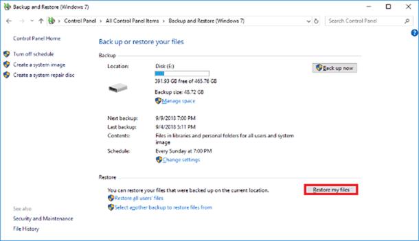 Use Windows Backup