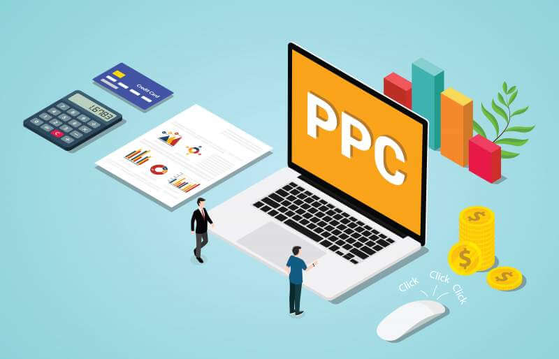 Isometric 3d ppc paid per clik advertising